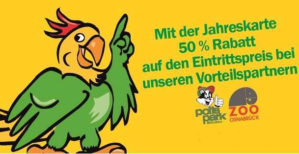50% Ermäßigung im potts park Minden und dem Zoo Osnabrück! - Bei Vorlage einer gültigen VP-Jahreskarte erhalten Sie einmalig 50 % Ermäßigung auf der regulären Eintritt. - Mit einer gültigen Jahreskarte des Vogelparks Heiligenkirchen erhalten Sie 50% Ermäßigung im potts park Minden und dem Zoo Osnabrück.