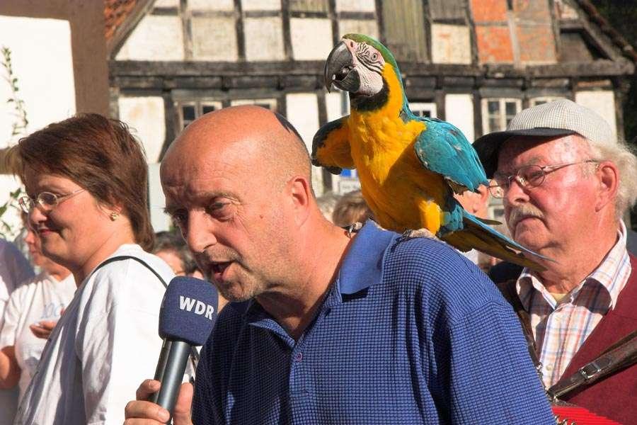 """WDR im Vogelpark Heiligenkirchen - Der WDR Reporter Olaf Lübcke mit dem Ara Kiki - Am 22.09. war ein Team des WDR im Vogelpark Heiligenkirchen.   Im Rahmen der beliebten Sendung """"Lokalzeit"""" besucht der WDR jeden Freitag um 10 Uhr früh unter dem Motto """"Dorfplatz Schlag 10"""" ein Dorf in Nordrhein-Westfalen, welches erst am Vortag ausgelost wird."""